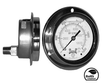 PFP Premium S.S. Gauge for Panel Mounting, 2.5 in. Dial, 30/0/300 psi, 1/4 in. NPT Lower Back Connection