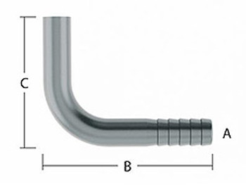 Barb Elbow to Smooth Finish - A=1/2 in. (13.51mm) Barb, B=1.91 in. (48.5mm) Length, C=2.50 in. (63.5mm) Height