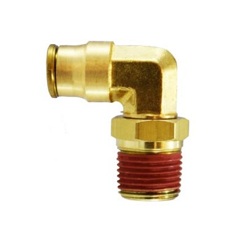 1/4 in. Tube OD x 3/8 in. Male NPTF, Push-In Swivel Male Elbow, Brass Push-to-Connect Fitting