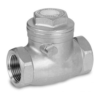 2-1/2 in. NPT Threaded Swing Check Valve, 200# CWP, 125# WSP, Metal-to-Metal Seat, Screwed Cap, 316 Stainless Steel Valves