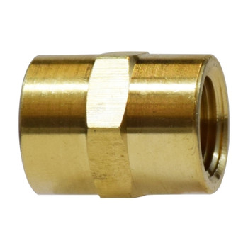 1/4 in. Coupling, FIP x FIP, NPTF Threads, Light Pattern, Up to 1200 PSI, Brass, Pipe Fitting