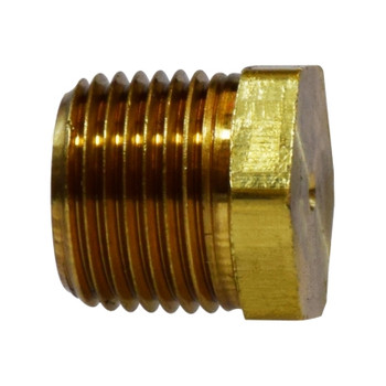 1/2 in. Solid Hex Head Plug, (MIP) NPTF Threads, 1200 PSI Max, Brass, Pipe Fitting