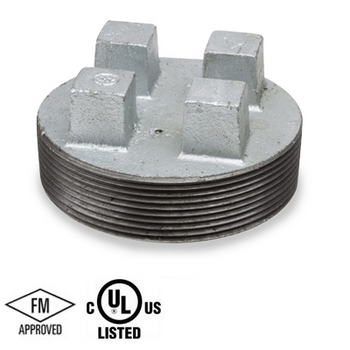 4 in. Galvanized Pipe Fitting 150# Malleable Iron Threaded Bar Plug, UL/FM