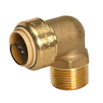 1 in. x 1 in. Male Adapter Elbow (Push x MNPT) QuickBite (TM) Push-to-Connect/Press On Fitting, Lead Free Brass (Disconnect Tool Included)