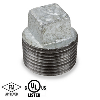 1 in. Galvanized Pipe Fitting 150# Malleable Iron Threaded Square Head Plug, UL/FM