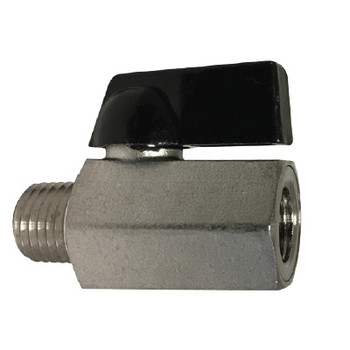1/4 in. M x F 400 PSI, Mini Ball Valve, 316 Stainless Steel