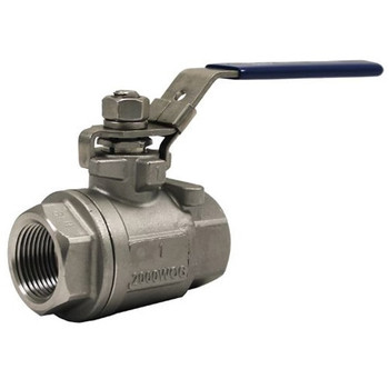 2 in. 2-Piece Stainless Steel Full Port Ball Valve 2000 WOG NPT Threaded 316 SS with Locking Handle