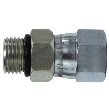 7/16-20 MOR x MJIC O-Ring to 37 Degree JIC Steel Swivel Hydraulic Adapter