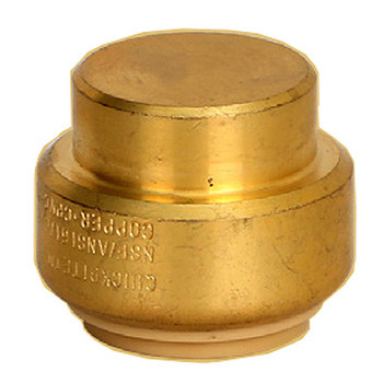 1 in. Cap QuickBite (TM) Push-to-Connect/Press On Fitting, Lead Free Brass (Disconnect Tool Included)