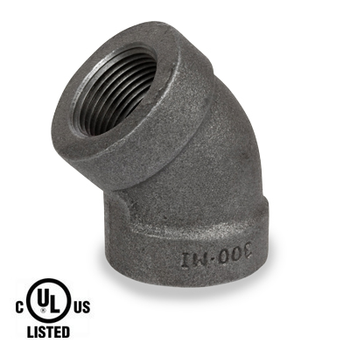 1 in. Black Pipe Fitting 300# Malleable Iron Threaded 45 Degree Elbow, UL