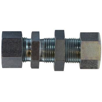 12 mm Bulkhead Straight Coupling Steel, DIN 2353 Metric, Hydraulic Adapter