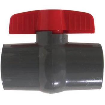 1 in. Slip x Slip, Grey Socket PVC Ball Valve, Leak-Tight Shut-Off, Schedule 80