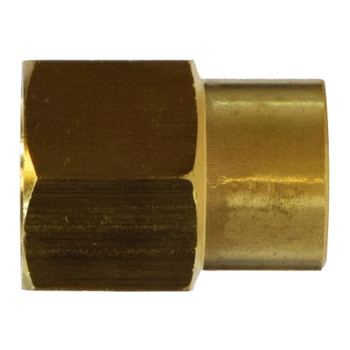1/2 in. x 3/8 in. Reducing Coupling, FIP x FIP, NPTF Threads, Up to 1200 PSI, SAE# 130138, Brass, Pipe Fitting
