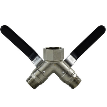 1 in. FIP x 3/4 in. MIP Connection, 250 psi WOG, 3 Way Wye Brass Ball Valve, Full Port, Vented
