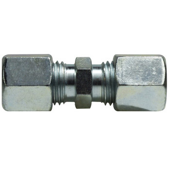 15 mm Union Coupling, Steel, DIN 2353 Metric, Hydraulic Adapter - LIGHT