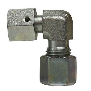 20mm DIN Swivel Nut Elbow, 90 Degree, Steel, DIN 2353 Metric, Hydraulic Adapter - HEAVY