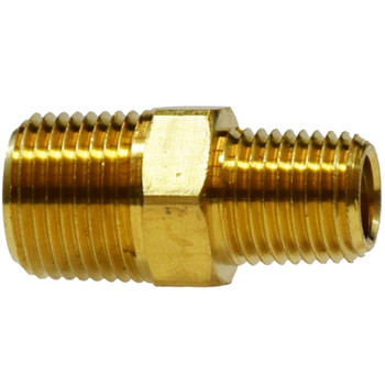 1/2 in. x 1/4 in. Reducing Hex Nipple, MIPxMIP, SAE 130137, NPTF Threads, Light Pattern, 1200 PSI Max, Brass, Pipe Fitting