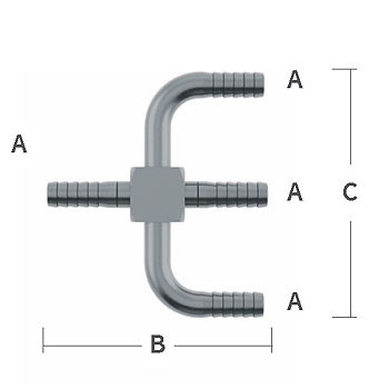 3/8 in. Y-Cross 303/304 Combination Stainless Steel Beverage Fitting
