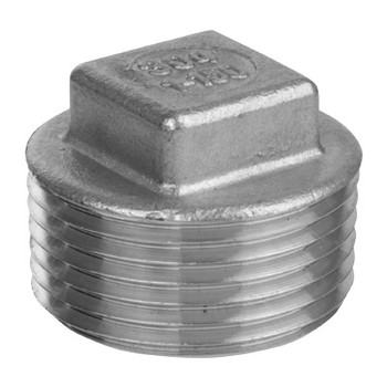 4 in. Square Head Plug - NPT Threaded 150# Cast 304 Stainless Steel Pipe Fitting