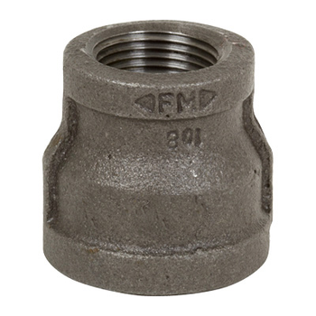 1 in. x 1/2 in. Black Pipe Fitting 150# Malleable Iron Threaded Reducing Coupling, UL/FM