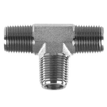 1/4 in. x 1/4 in. x 1/4 in. Threaded NPT Male Tee 4500 PSI 316 Stainless Steel High Pressure Fittings