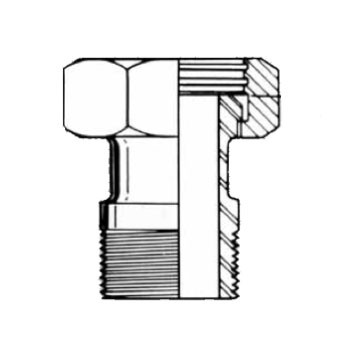 4 in. 14-19 Adapter (Acme Hex to Male NPT) 304 Stainless Steel Sanitary Fitting Dimensions