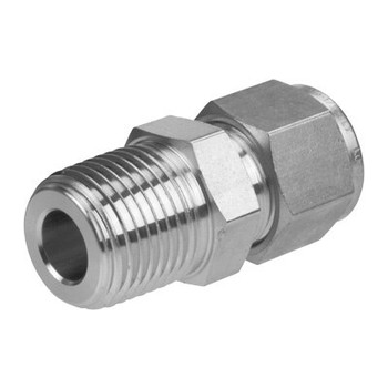 3/4 in. Tube x 1/2  in. NPT - Male Connector - Double Ferrule - 316 Stainless Steel Tube Fitting - Thread End View