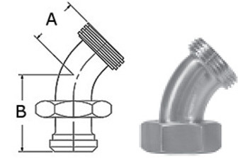 1-1/2 in. 2P 45 Degree Sweep Elbow (3A) 304 Stainless Steel Sanitary Fitting with Dimensions