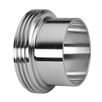 3 in. Long Threaded Bevel Seat Ferrule - 15A - 304 Stainless Steel Sanitary Fitting