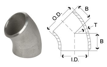 1/2 in. 45 Degree Elbow - SCH 80 - 304/304L Stainless Steel Butt Weld Pipe Fitting Dimensions Drawing
