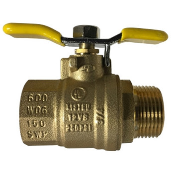 1/2 in. 600 WOG, Male x Female (M x F), Tee Handle Ball Valve, Forged Brass Body. UL