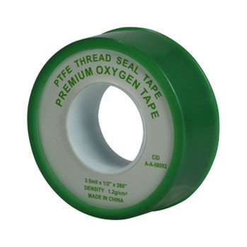 1/2 in. Wide x 260 in. Long Roll 3-Wrap Green Oxygen PTFE Thread Seal Tape l
