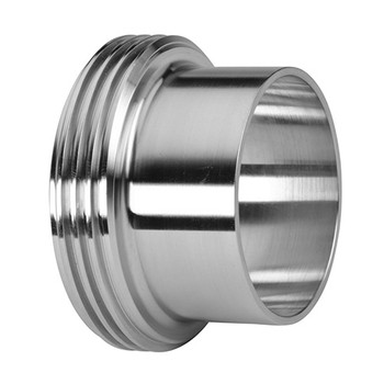 2-1/2 in. Long Threaded Bevel Seat Ferrule - 15A - 316L Stainless Steel Sanitary Fitting View 1