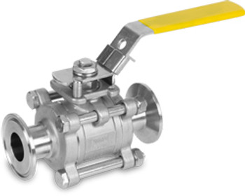 2 in. Sanitary 3 Piece Tube Port Ball Stainless Steel Valve 316SS, Encapsulated Body Seal
