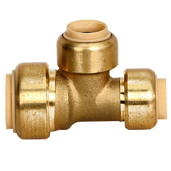 1 in. x 1 in. x 3/4 in. Reducing Tee QuickBite (TM) Push-to-Connect/Press On Fitting, Lead Free Brass (Disconnect Tool Included)