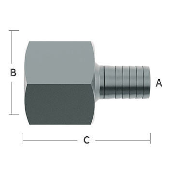 1/2 in. Hose Barb x 3/4 in. Female NPT Pipe Thread, Straight Adapter Stainless Steel Beverage Fitting