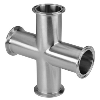 1 in. Clamp Cross - 9MP - 316L Stainless Steel Sanitary Fitting (3-A) Side View with Clamp Connection