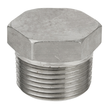 1 in. Threaded NPT Hex Head Plug 304/304L 3000LB Stainless Steel Pipe Fitting