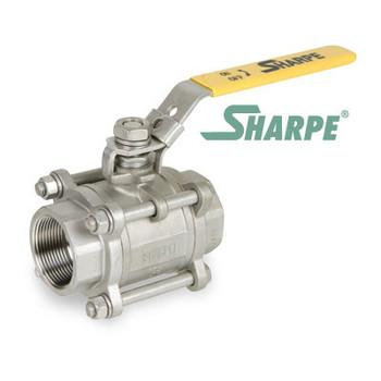 1-1/2 in. 316 Stainless Steel Ball Valve 1000 WOG Full Port Threaded 3-Piece Sharpe Valve Series 39036
