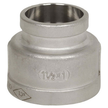 1-1/2 in. x 1-1/4 in. Pipe Fitting Stainless Steel Socket Weld Reducing Coupling, Cast 150# 304SS