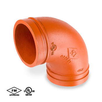 2-1/2 in. Grooved 90° Elbow Standard Radius Orange Paint Coating UL/FM 65E COOPLOK Fitting