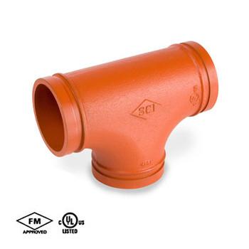 1-1/4 in. Grooved Fitting Tee Standard Radius Orange Paint Coating UL/FM 65E COOPLOK