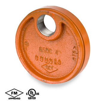 4 in. Grooved Drain Cap, Ductile Iron, Orange Paint Coating UL/FM 65DC COOPLOK Groove Fitting