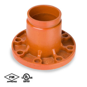 2 in. Grooved x Flange Adapter Ductile Iron, Orange Paint Coating UL/FM - 66FA COOPLOK Groove Fitting