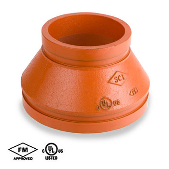 3-1/2 in. x 3 in. Grooved Concentric Reducer, Fabricated, Orange Paint Coating UL/FM - 65CR COOPLOK Groove Fitting