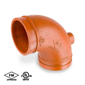 4 in. Grooved 90 Degree Drain Elbow Standard Radius, Ductile Iron Orange Paint Coating UL/FM - 65DE COOPLOK Groove Fitting