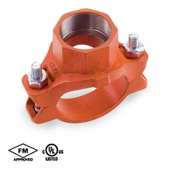 4 in. x 1 in. Grooved Mechanical Tee Threaded Outlet Orange Paint UL/FM 65MT COOPLOK Groove Fitting