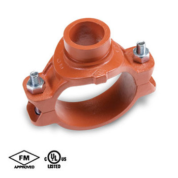 4 in. x 1-1/2 in. Grooved Mechanical Tee, Ductile Iron, Grooved Outlet, Orange Paint UL/FM - 65MG COOPLOK Groove Fitting Branch Outlet