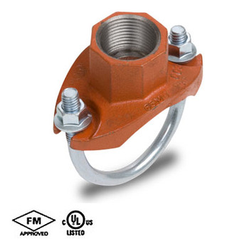 1-1/4 in. x 1 in. Grooved Strap Tee Threaded Outlet Orange Paint UL/FM COOPLOK Grooved Fitting Branch Outlet