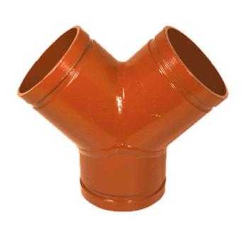 3 in. Grooved True Wye Orange Paint Coating - 66Y COOPLOK Grooved Fitting